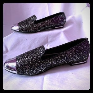 Black Silver Sparkling Flat Loafers NW Size 10
